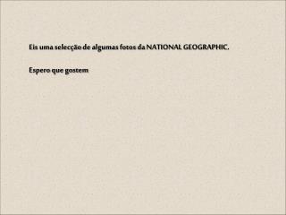 Eis uma selecção de algumas fotos da NATIONAL GEOGRAPHIC. Espero que gostem