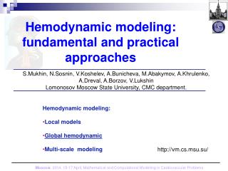 Hemodynamic modeling: fundamental and practical approaches