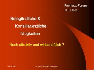 Facharzt-Forum 29.11.2007