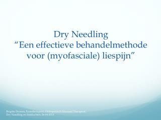 """Dry Needling """" Een effectieve behandelmethode voor (myofasciale) liespijn """""""