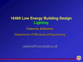 16469 Low Energy Building Design Lighting