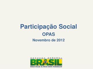 Participação Social OPAS  Novembro de 2012