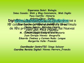 Esperanza Bolet: Biolog�a Inma Casado:  Web y Blog Convivencia, Web Ingl�s