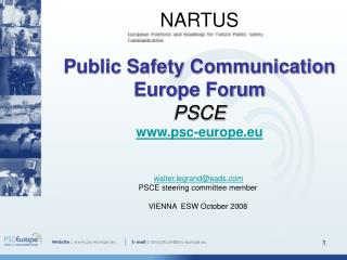 NARTUS   Public Safety Communication  Europe Forum  PSCE psc-europe.eu