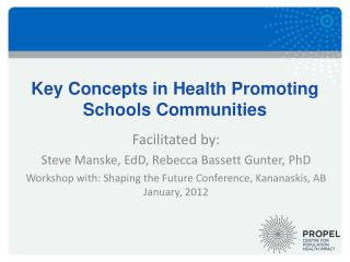Key Concepts in Health Promoting Schools Communities