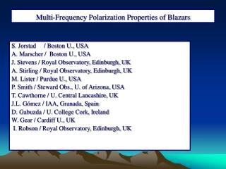 Multi-Frequency Polarization Properties of Blazars