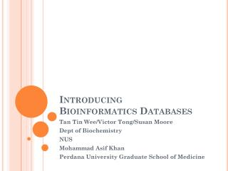 Introducing  Bioinformatics Databases