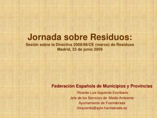Federación Española de Municipios y Provincias Ricardo Luis Izquierdo Escribano