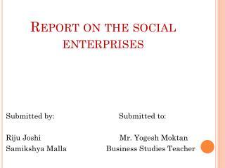 Report on the social enterprises