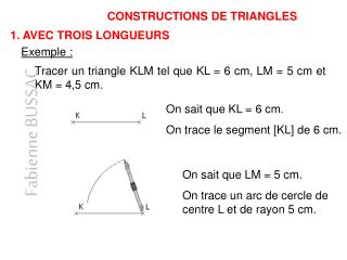 CONSTRUCTIONS DE TRIANGLES