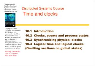 Distributed Systems Course Time and clocks