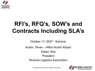 RFI's, RFQ's, SOW's and Contracts Including SLA's