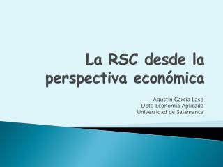 La RSC desde la perspectiva económica