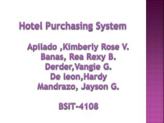 Hotel Purchasing System