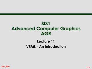 SI31 Advanced Computer Graphics AGR