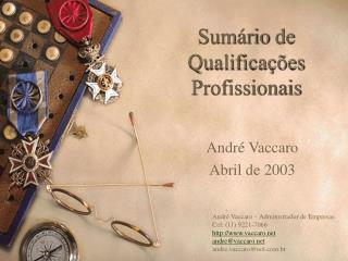 Sumário  de Qualificações Profissionais