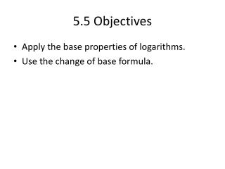 5.5 Objectives