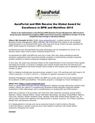 AuraPortal and RSA Receive the Global Award for Excellence