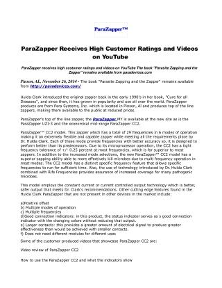 ParaZapper Receives High Customer Ratings and Videos on YouT