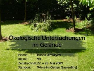 Ökologische Untersuchungen im Gelände