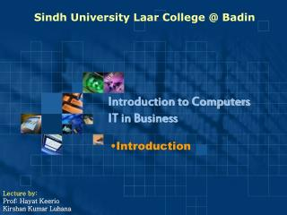 Sindh University Laar College @ Badin