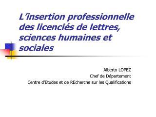 L'insertion professionnelle des licenciés de lettres, sciences humaines et sociales