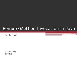 Remote Method Invocation in Java