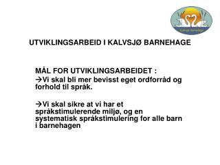 UTVIKLINGSARBEID I KALVSJØ BARNEHAGE