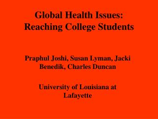 Global Health Issues:  Reaching College Students