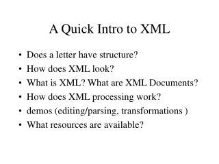 A Quick Intro to XML