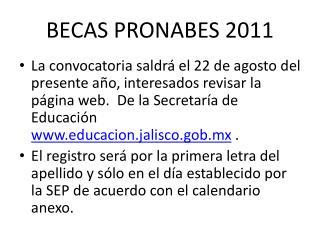 BECAS PRONABES 2011