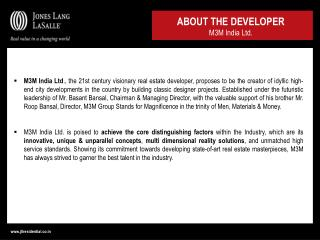ABOUT THE DEVELOPER M3M India Ltd.