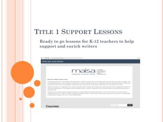 Title 1 Support Lessons