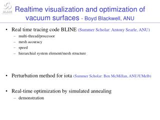 Realtime visualization and optimization of vacuum surfaces  - Boyd Blackwell, ANU