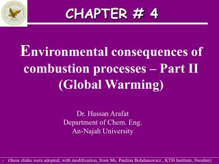 E nvironmental consequences of combustion processes – Part II (Global Warming)