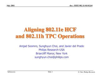 Aligning 802.11e HCF  and 802.11h TPC Operations