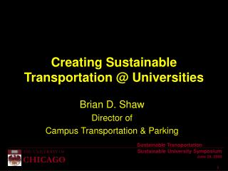 Creating Sustainable Transportation  Universities