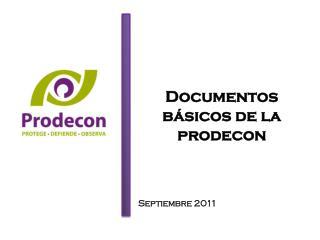 Documentos básicos de la  prodecon Septiembre 2011