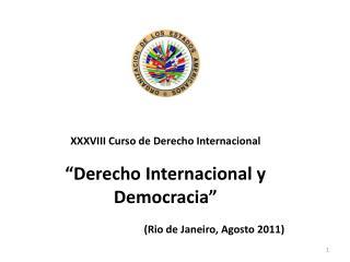 """XXXVIII Curso de Derecho Internacional """"Derecho Internacional y Democracia"""""""