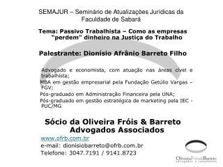SEMAJUR – Seminário de Atualizações Jurídicas da Faculdade de Sabará