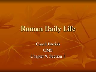 Roman Daily Life