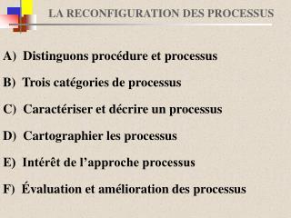LA RECONFIGURATION DES PROCESSUS
