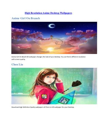 High Resolution Anime Desktop Wallpapers