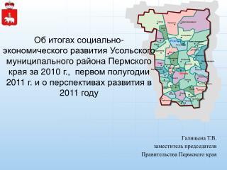 Галицына Т.В. заместитель председателя  Правительства Пермского края
