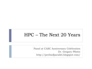 HPC – The Next 20 Years