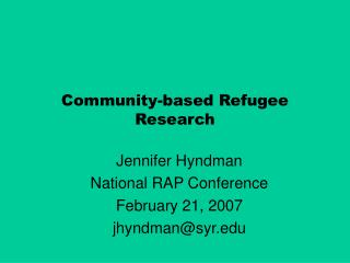 Community-based Refugee Research
