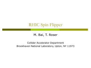 RHIC Spin Flipper