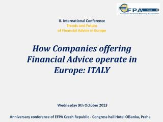 II. International  Conference Trends and Future of Financial Advice in Europe