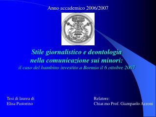 Anno accademico 2006/2007