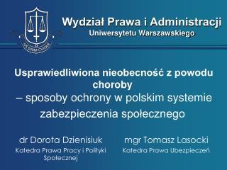 mgr Tomasz Lasocki Katedra Prawa Ubezpieczeń